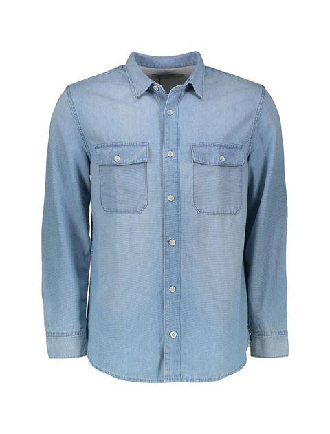پیراهن جین آستین بلند مردانه - آبي - 1