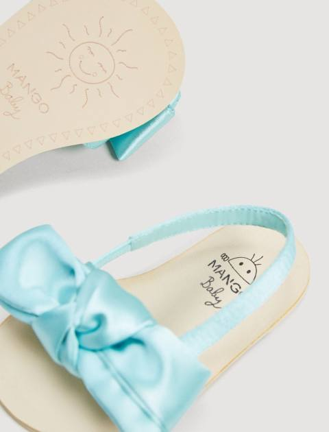 کفش بندی نوزادی دخترانه - آبي روشن  - 5