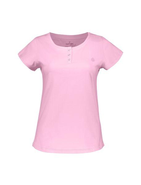 تی شرت نخی یقه گرد زنانه - صورتي - 1