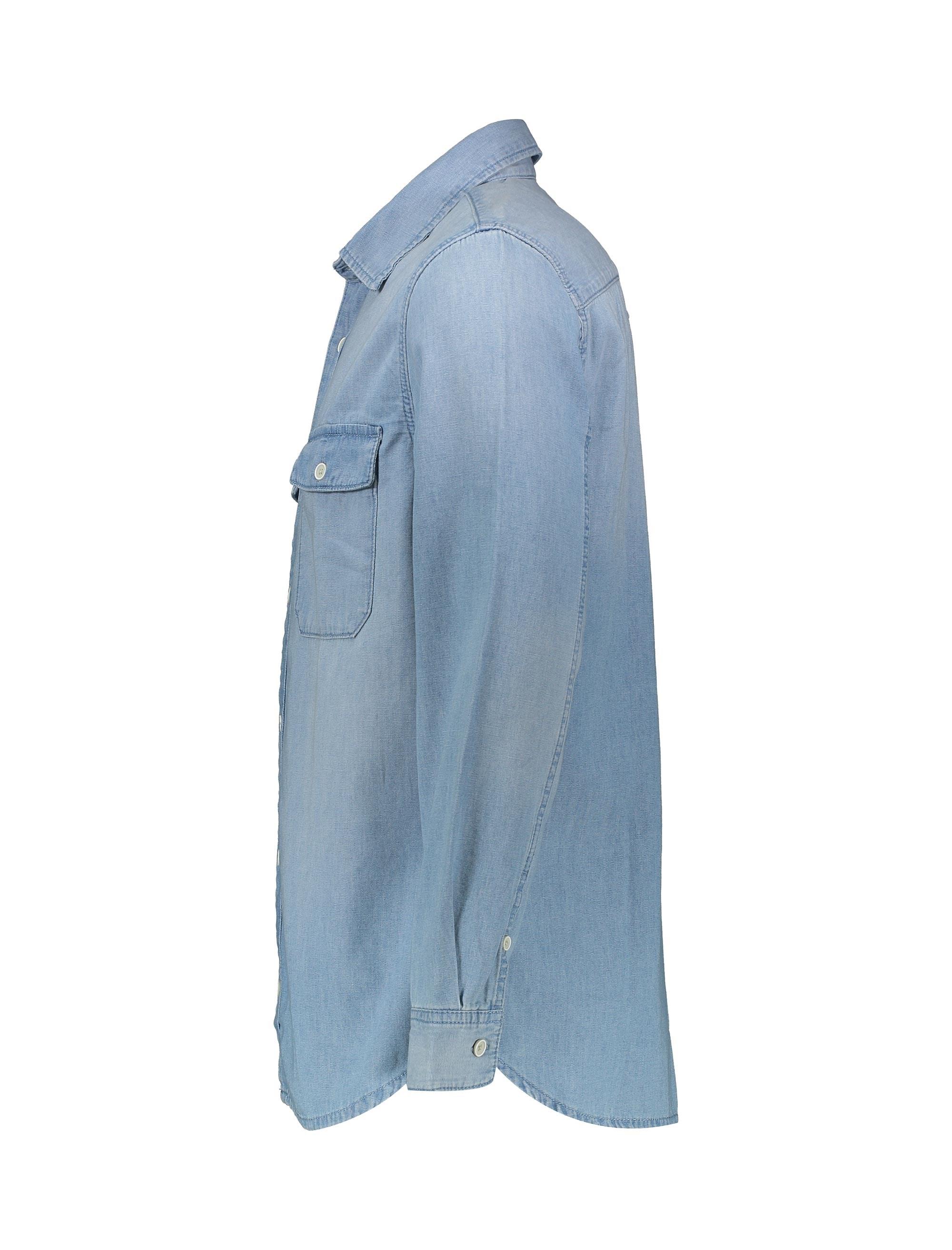 پیراهن جین آستین بلند مردانه - مانگو - آبي - 4
