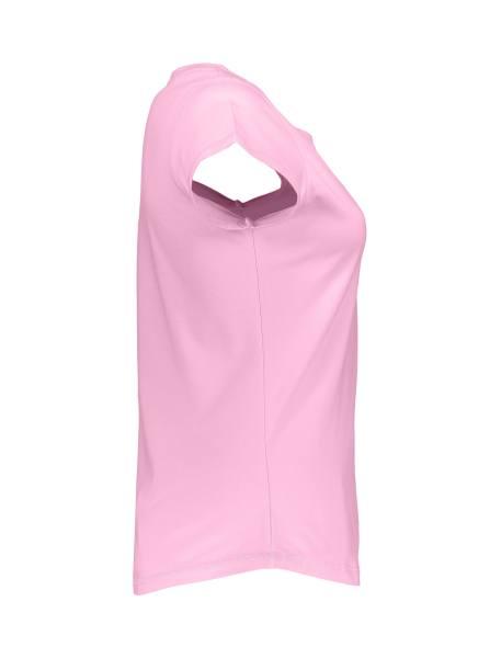 تی شرت نخی یقه گرد زنانه - صورتي - 4
