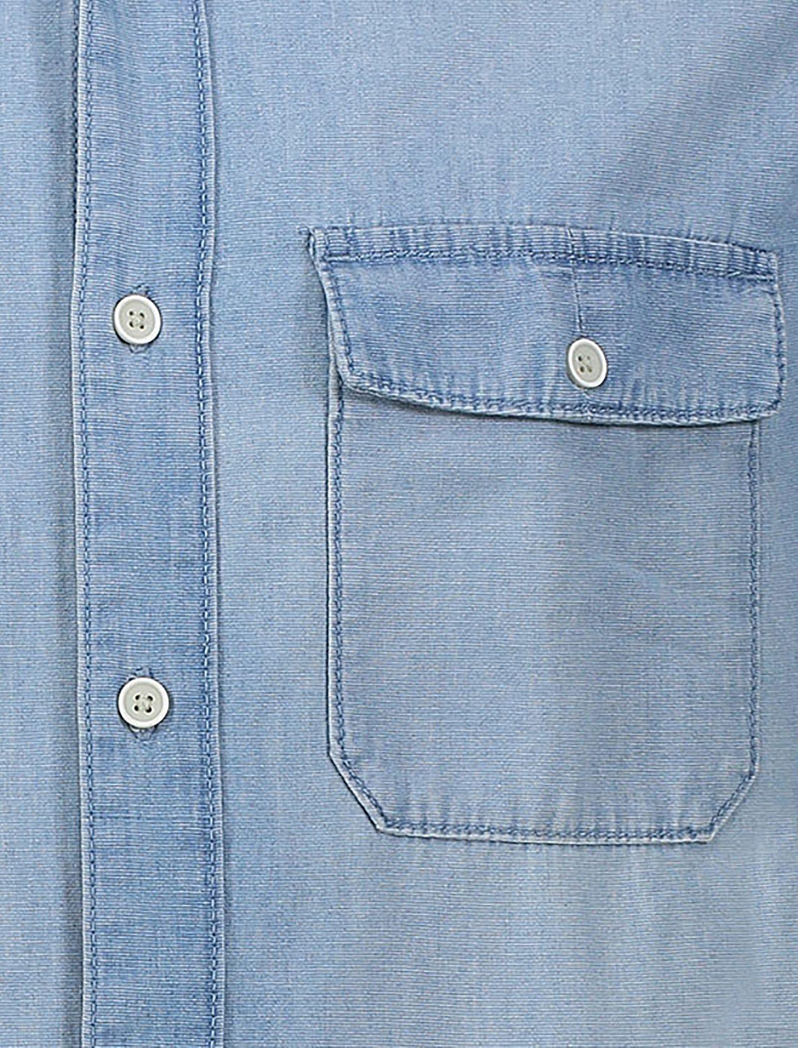 پیراهن جین آستین بلند مردانه - مانگو - آبي - 5