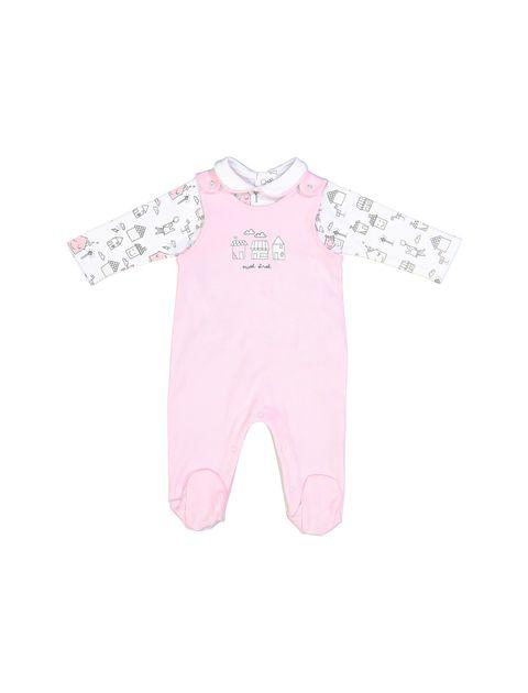 سرهمی و تی شرت نخی نوزادی دخترانه - سفيد و صورتي - 1