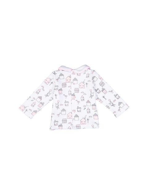 سرهمی و تی شرت نخی نوزادی دخترانه - سفيد و صورتي - 2