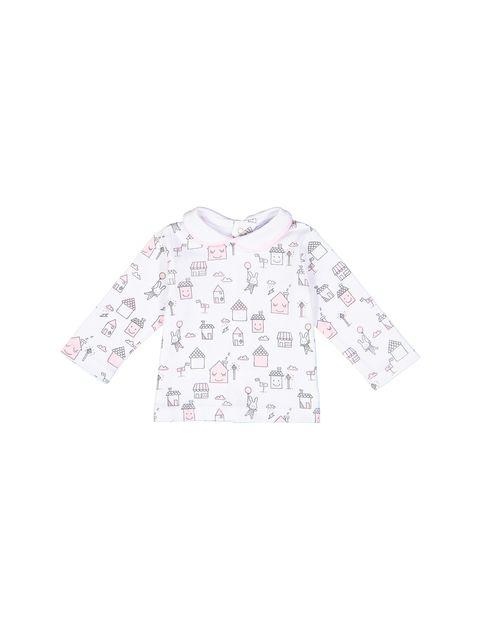 سرهمی و تی شرت نخی نوزادی دخترانه - سفيد و صورتي - 4