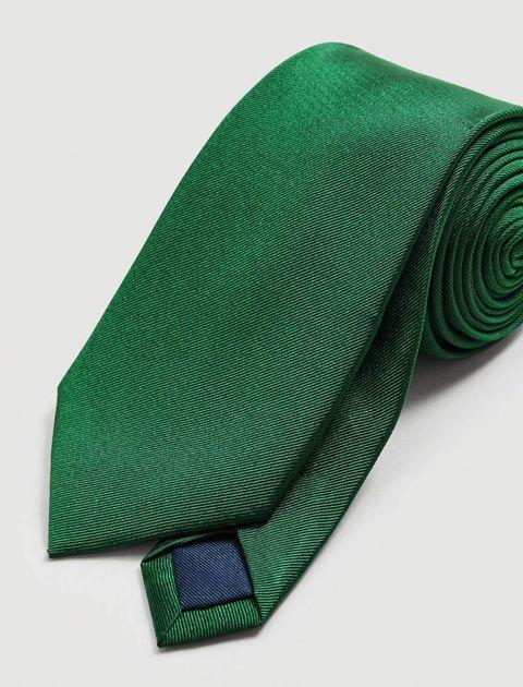 کروات ابریشم ساده مردانه - مانگو - سبز  - 3