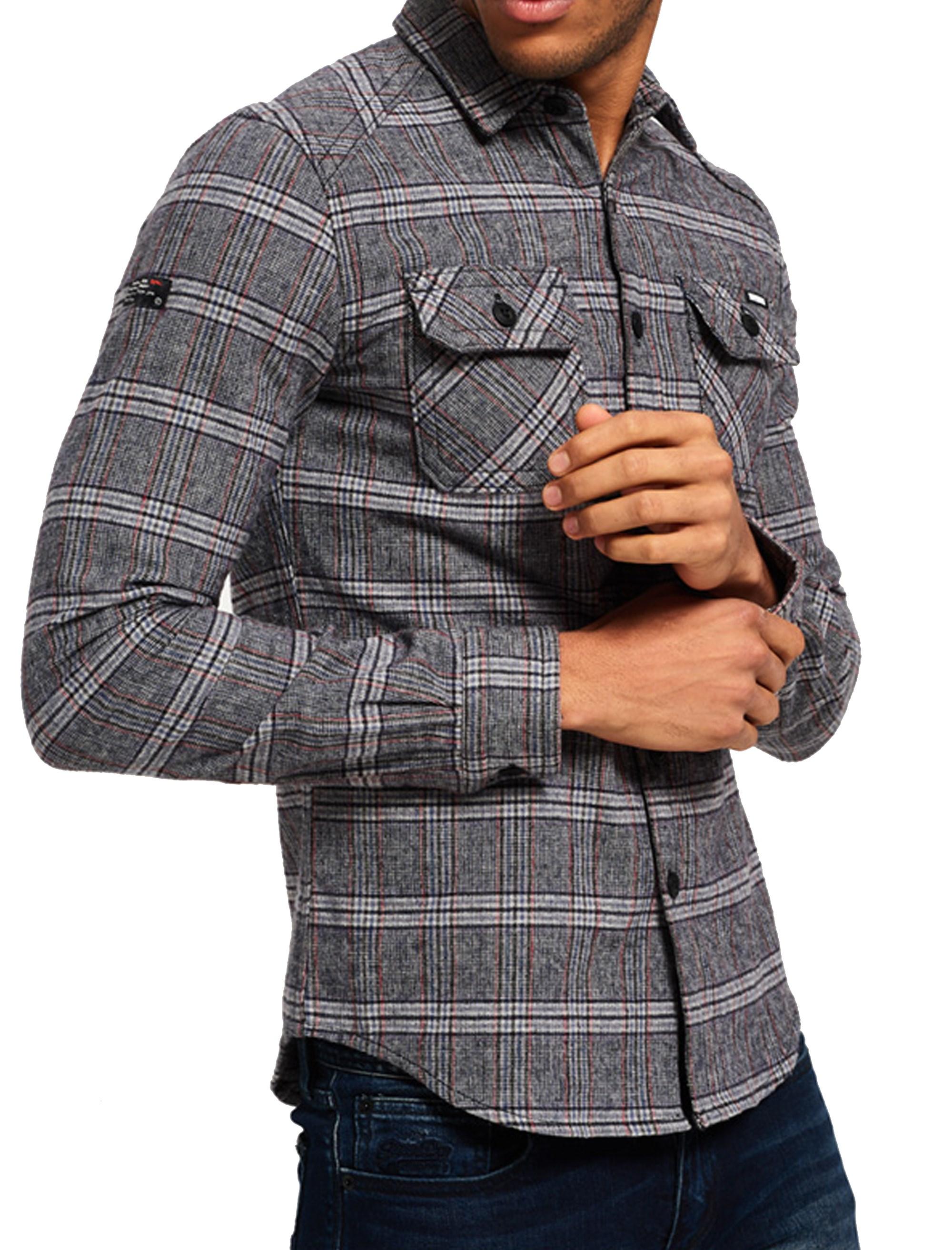 پیراهن نخی آستین بلند مردانه - طوسي - 2