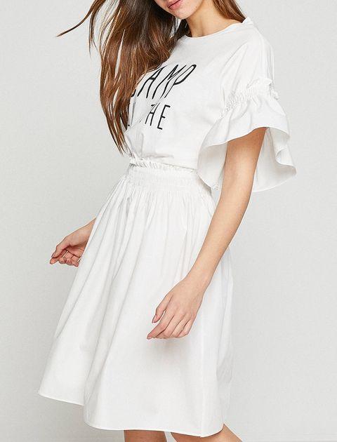 پیراهن کوتاه زنانه - سفيد - 9