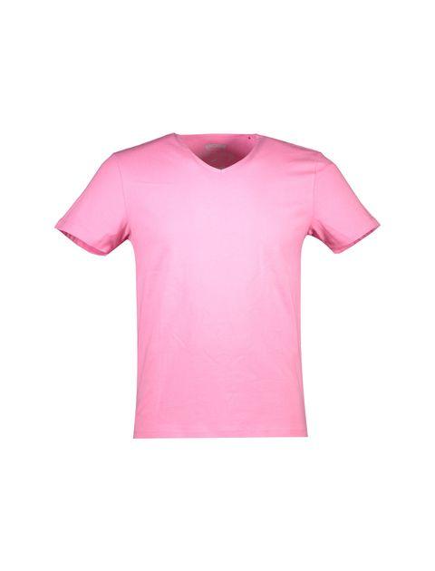 تی شرت نخی یقه هفت مردانه - صورتي - 1