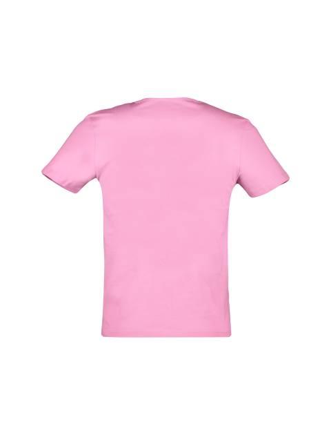 تی شرت نخی یقه هفت مردانه - صورتي - 2