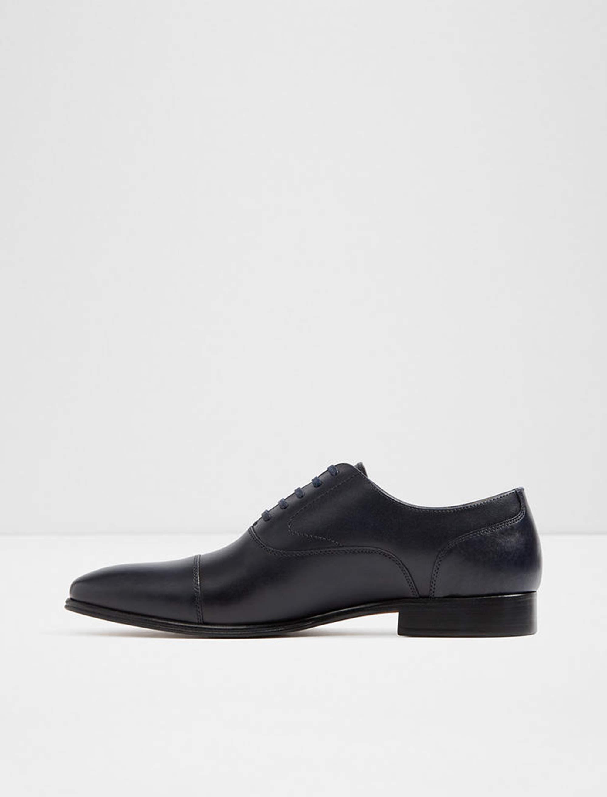 کفش رسمی چرم مردانه - سرمه اي - 2