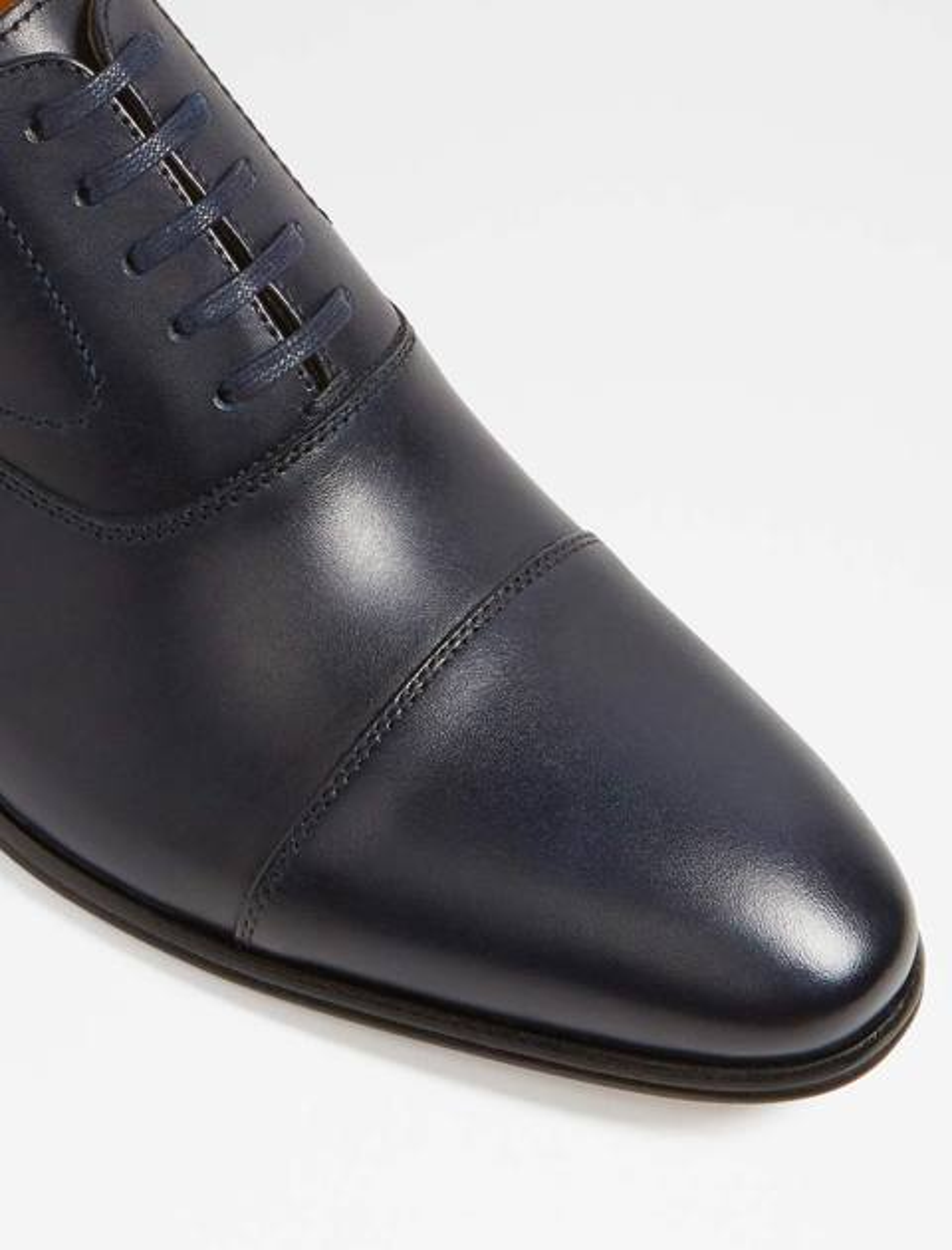 کفش رسمی چرم مردانه - سرمه اي - 4