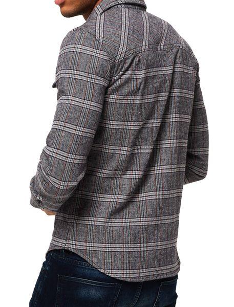 پیراهن نخی آستین بلند مردانه - طوسي - 6