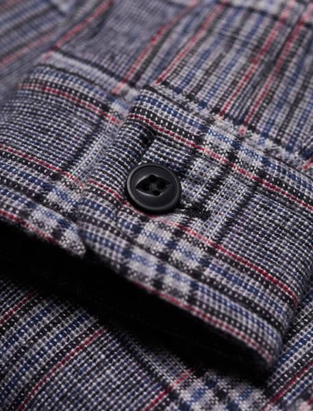 پیراهن نخی آستین بلند مردانه - طوسي - 8