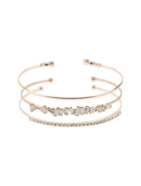 دستبند النگویی زنانه بسته 3 عددی - طلايي - 1