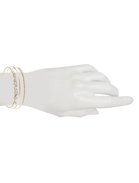 دستبند النگویی زنانه بسته 3 عددی - طلايي - 8