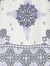 بلوز یقه گرد زنانه - سفيد و آبي - 4