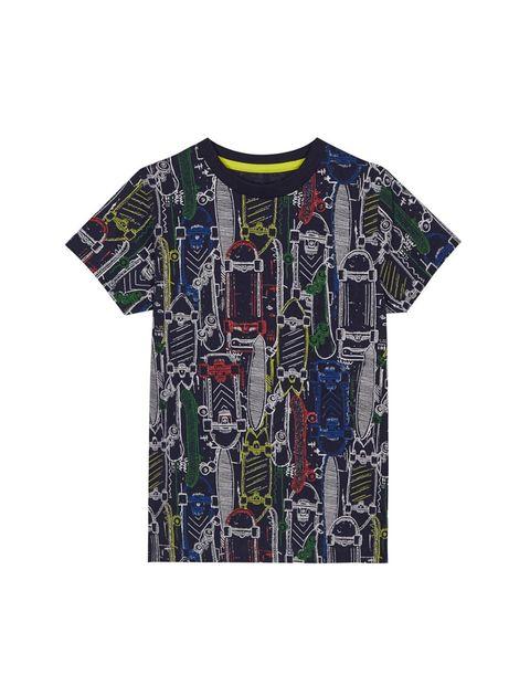 تی شرت نخی یقه گرد پسرانه - بلوزو - سرمه اي - 1