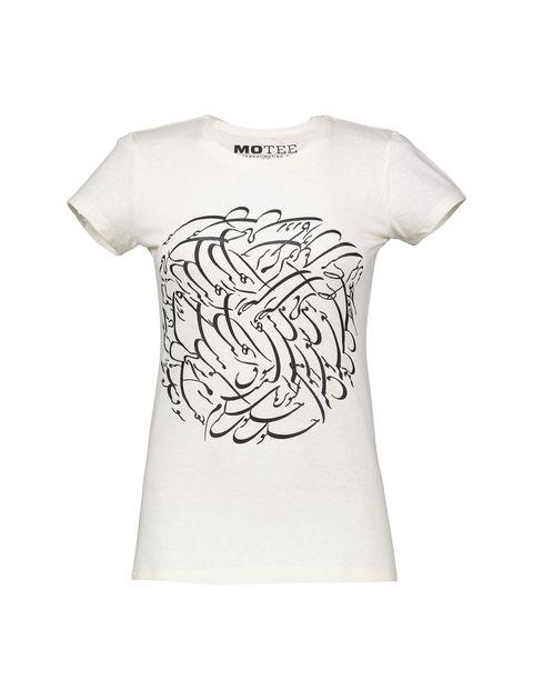 تی شرت یقه گرد زنانه - کرم - 1