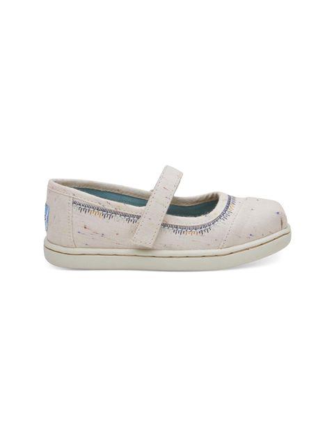 کفش پارچه ای چسبی دخترانه MARY - کرم - 1