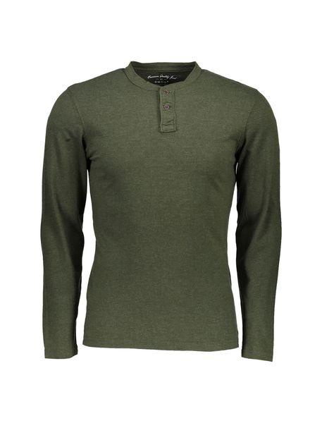 تی شرت نخی یقه گرد مردانه - زيتوني - 1