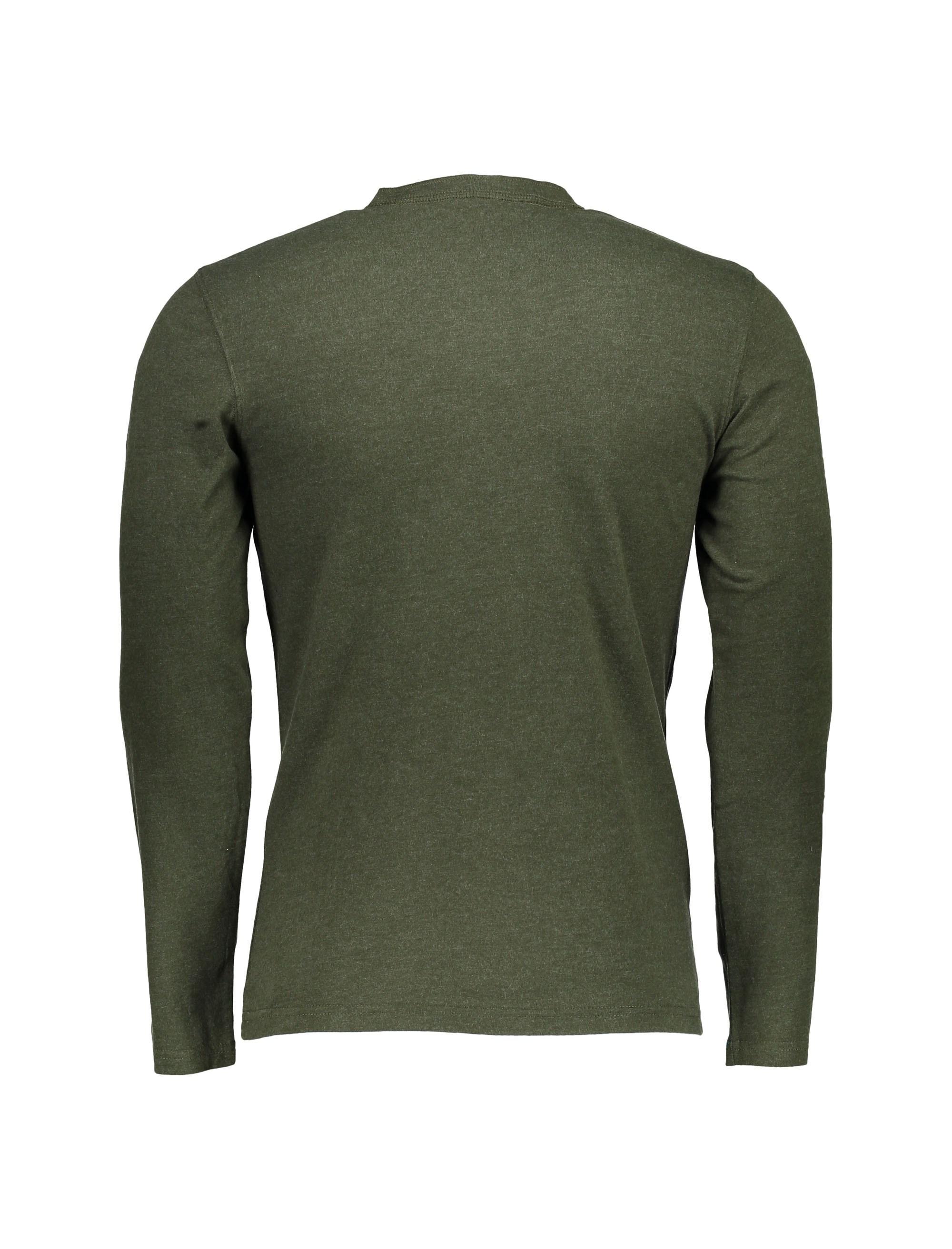 تی شرت نخی یقه گرد مردانه - سلیو - زيتوني - 2