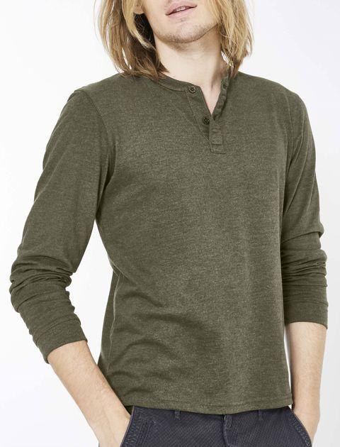 تی شرت نخی یقه گرد مردانه - سلیو - زيتوني - 5