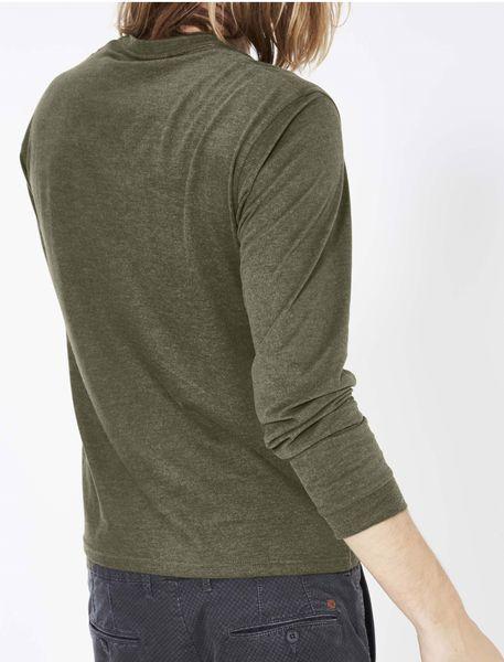 تی شرت نخی یقه گرد مردانه - زيتوني - 6