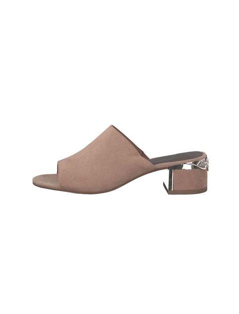 کفش پاشنه بلند پارچه ای زنانه - بژ - 3