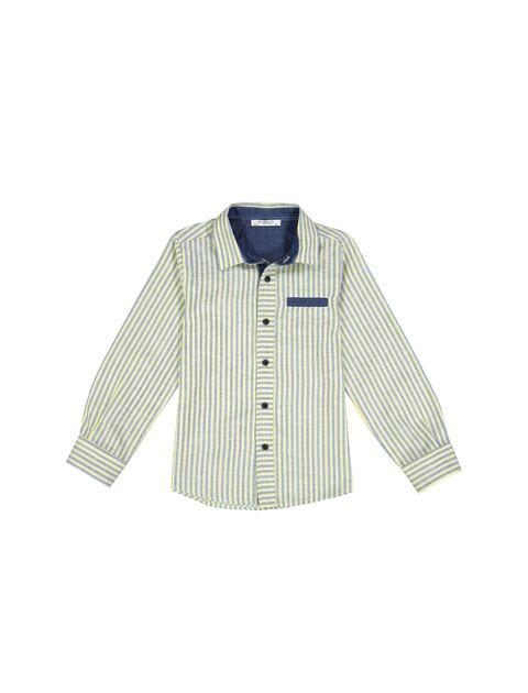 پیراهن نخی آستین بلند پسرانه - زرد - 1