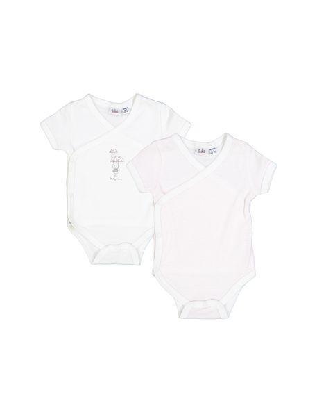 بادی نخی  نوزادی دخترانه بسته 2 عددی - White Pink  - 1