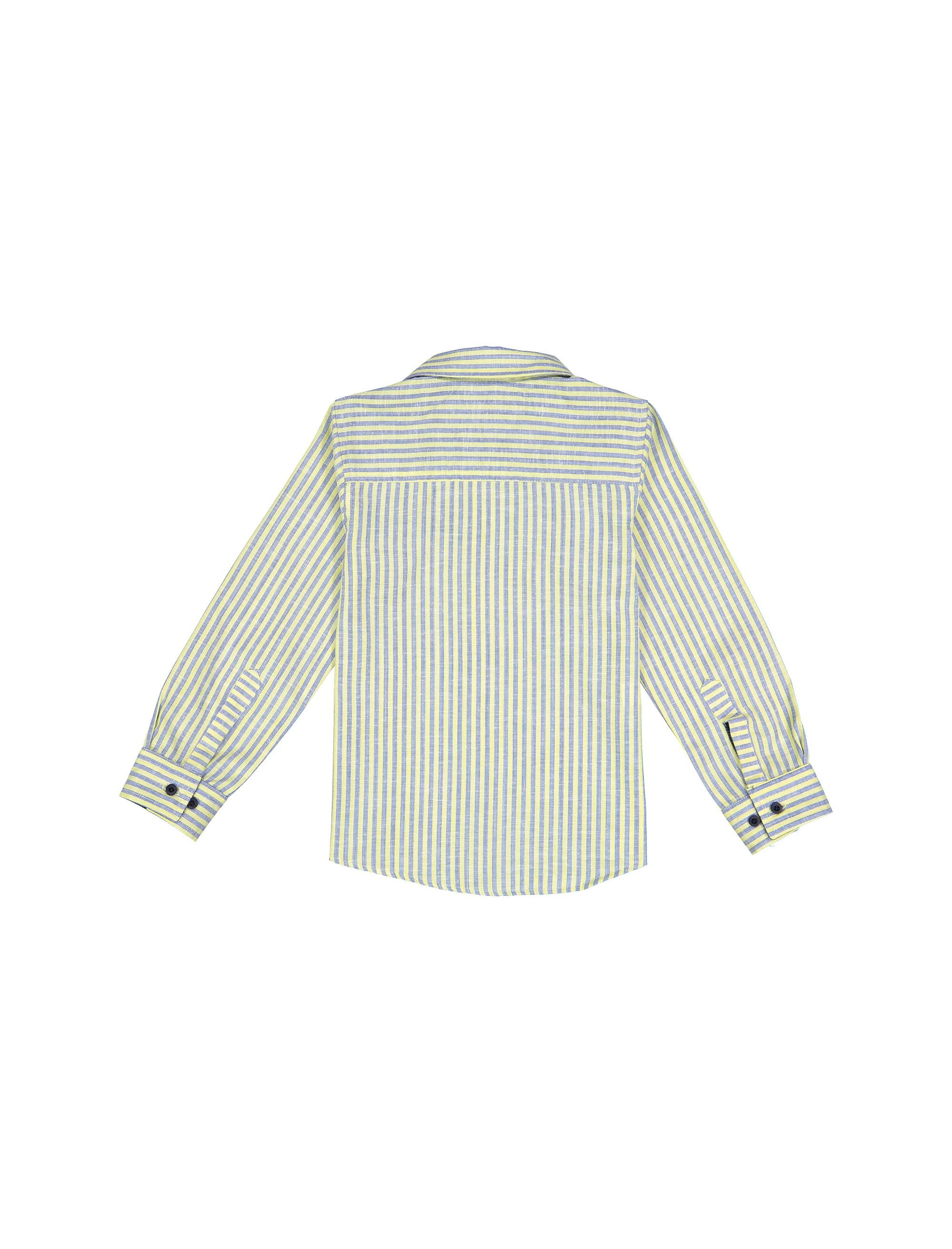 پیراهن نخی آستین بلند پسرانه - زرد - 2