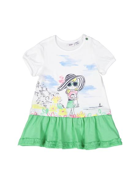 پیراهن نخی آستین کوتاه نوزادی دخترانه - سفيد و سبز - 1
