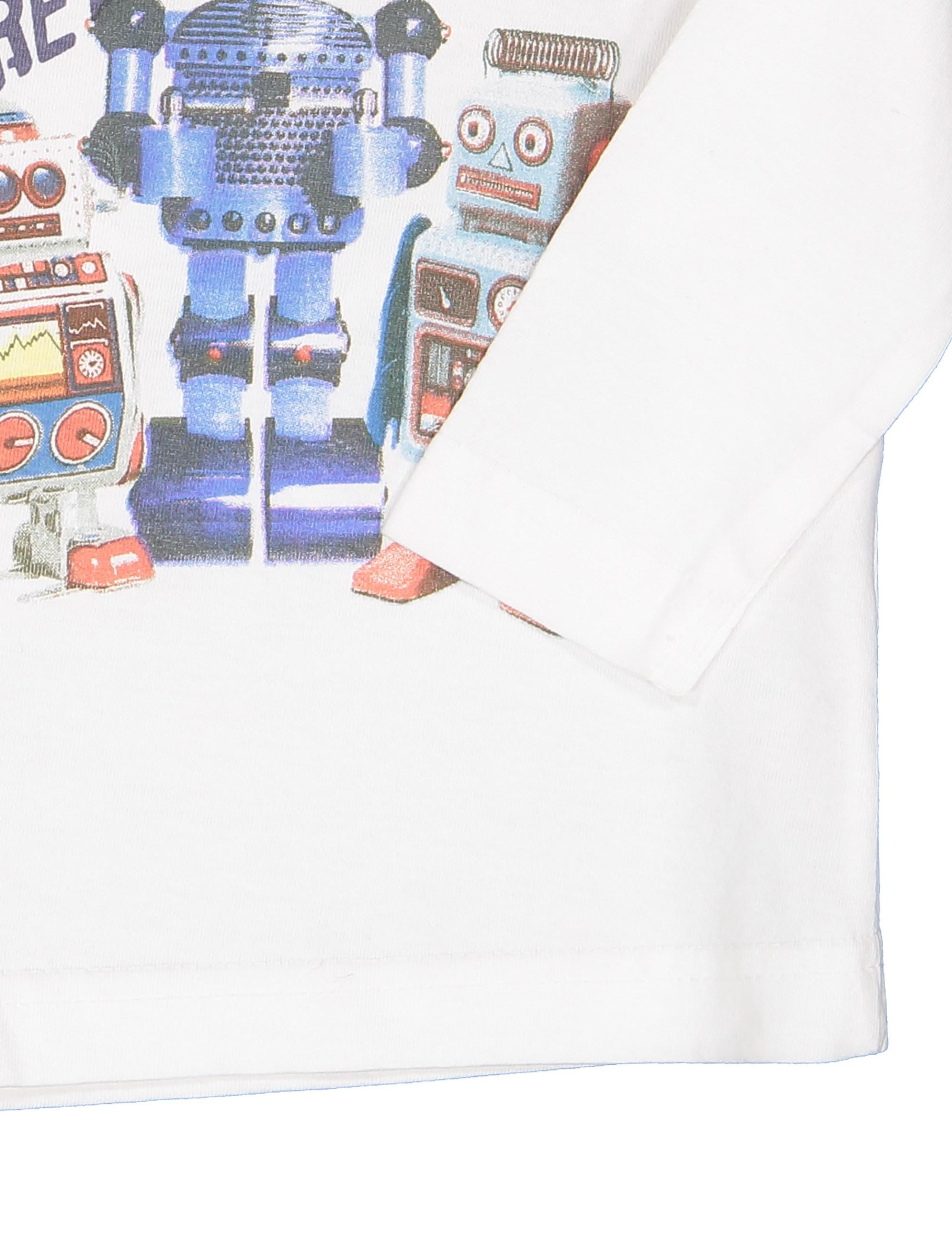 تی شرت نخی نوزادی پسرانه - سفيد - 3