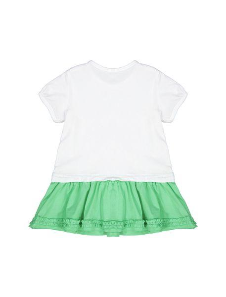 پیراهن نخی آستین کوتاه نوزادی دخترانه - سفيد و سبز - 2