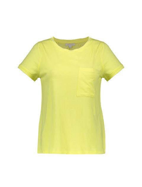تی شرت یقه گرد زنانه - زرد - 1