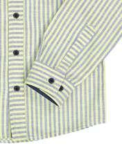 پیراهن نخی آستین بلند پسرانه - زرد - 4