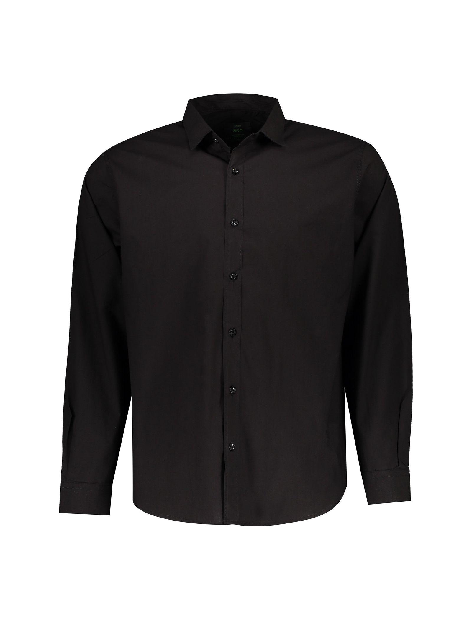 پیراهن نخی آستین بلند مردانه - آر اِن اِس - مشکي - 1
