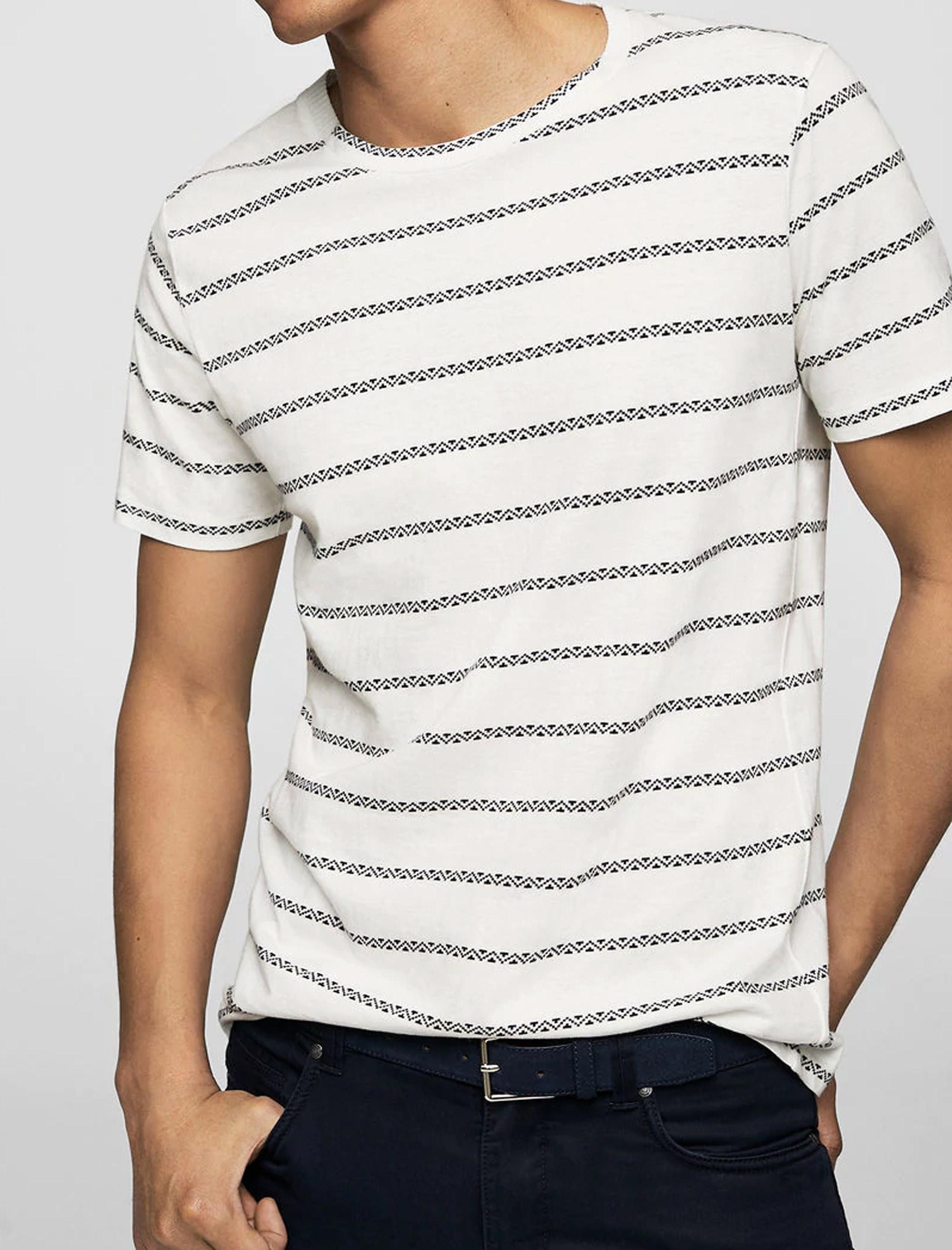 تی شرت نخی یقه گرد مردانه - مانگو