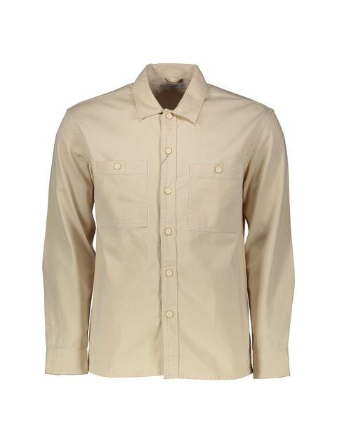 پیراهن نخی آستین بلند مردانه - بژ - 1