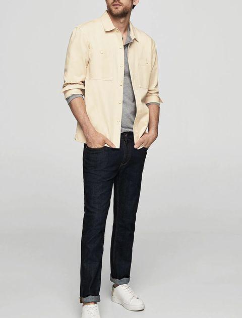 پیراهن نخی آستین بلند مردانه - بژ - 2