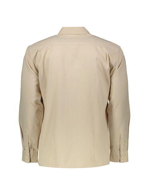 پیراهن نخی آستین بلند مردانه - بژ - 3