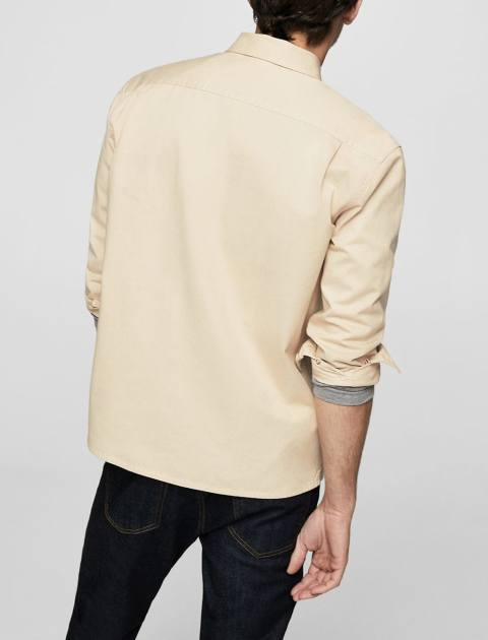 پیراهن نخی آستین بلند مردانه - بژ - 6