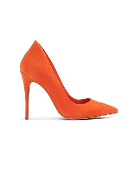 کفش پاشنه بلند چرم زنانه - نارنجي - 1