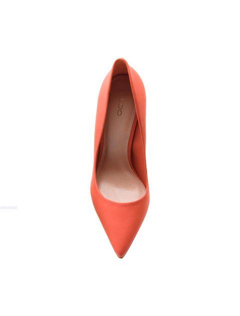 کفش پاشنه بلند چرم زنانه - نارنجي - 3