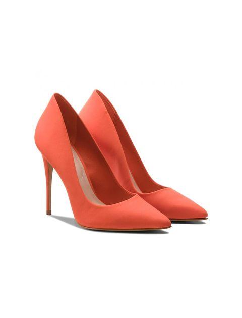 کفش پاشنه بلند چرم زنانه - نارنجي - 5