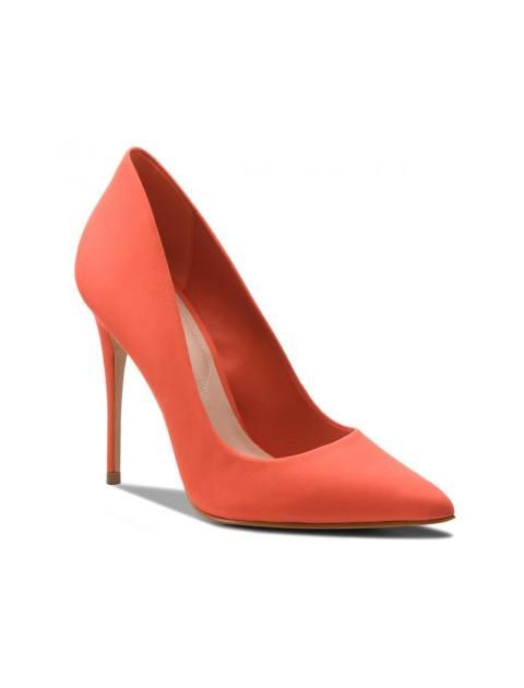 کفش پاشنه بلند چرم زنانه - نارنجي - 6