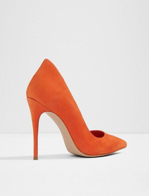کفش پاشنه بلند چرم زنانه - نارنجي - 7