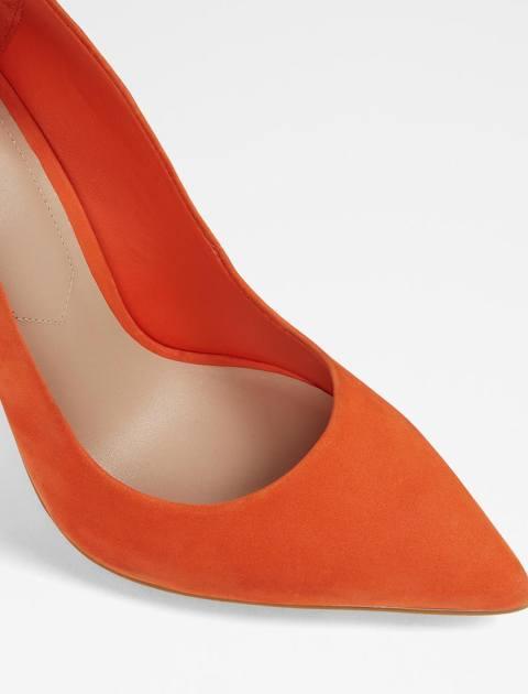 کفش پاشنه بلند چرم زنانه - نارنجي - 8