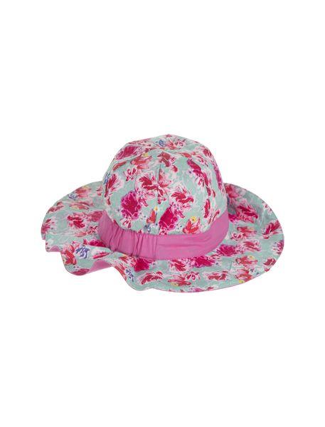 کلاه نخی طرح دار دخترانه - سبز آبي - 1